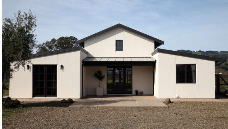 white house exterior modern farmhouse style black doors