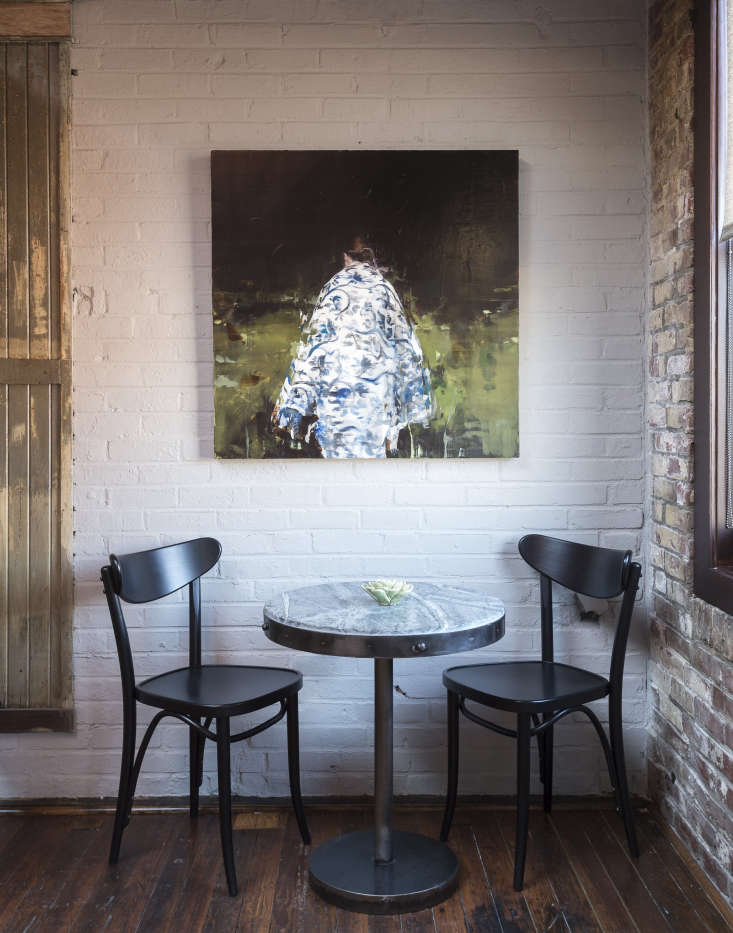 Several rooms feature paintings by artist  Alex Kanevsky.