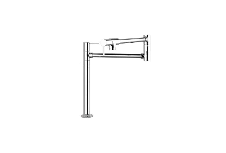 TheHansgrohe Axor Starck Pot Filler Deck Mounted Faucet has a 360-degree swivel range; $566.05 at Kitchen & Bath Authority. For more see Easy Pieces: Articulated Deck Mount Kitchen Faucets.