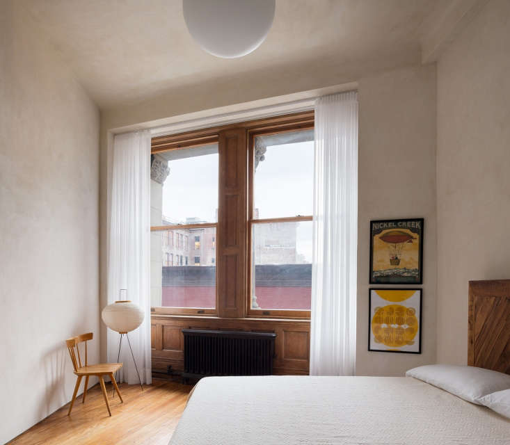 bedroom nyc plaster walls wood floors