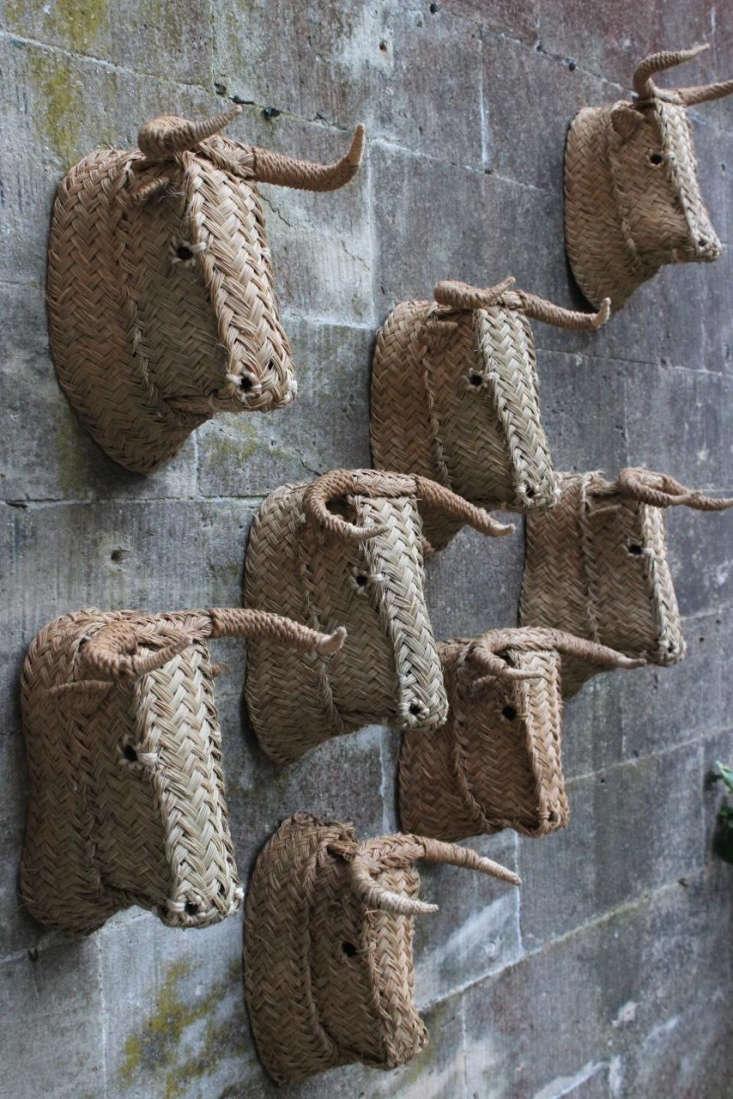 the medium handmade spanish bull head is woven in esparto grass; £75 (\$96.07) 12