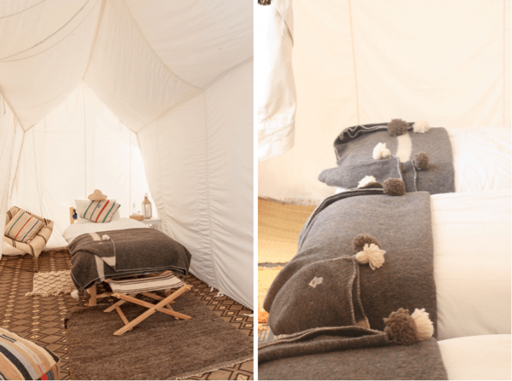 Furnished with Tuareg mats and other native textiles, Camp Adounia offers two authentic Moroccan experiences, one overlooking the Atlantic and another nestled in the Saharan dunes.