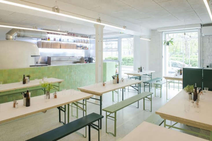 shades of green at bricktop pizza, by remodelista favorite septembre architects 9