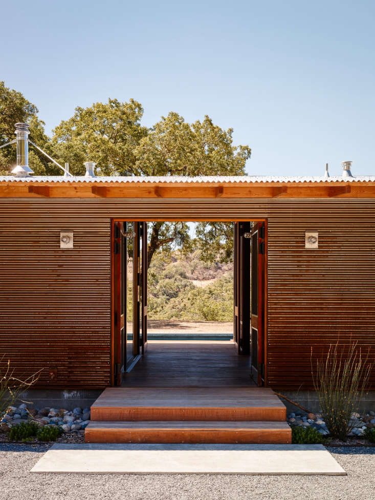 corrugated metal siding pool house northern california