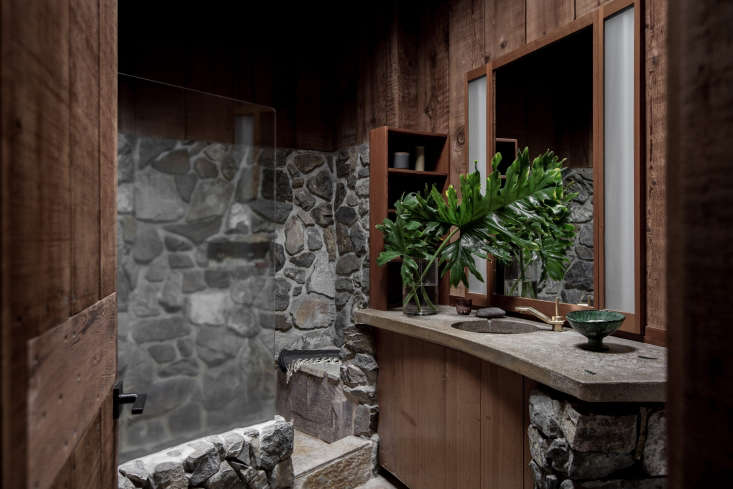 Original redwood paneling at the Esalen Institute in Big Sur, California, updated by Salt &Bones. Photograph by Laure Joliet fromA Storied Retreat in Big Sur Gets an Update (for the First Time in 50 Years).