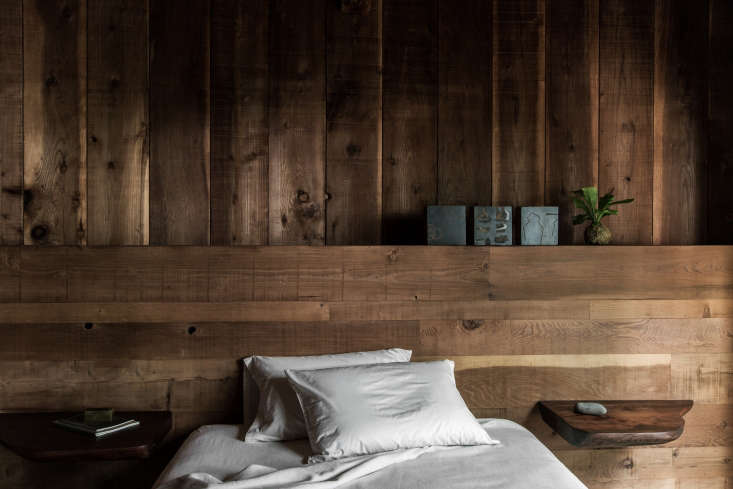 white cotton sheets are from matteohome. the salvaged redwood headboards were 13