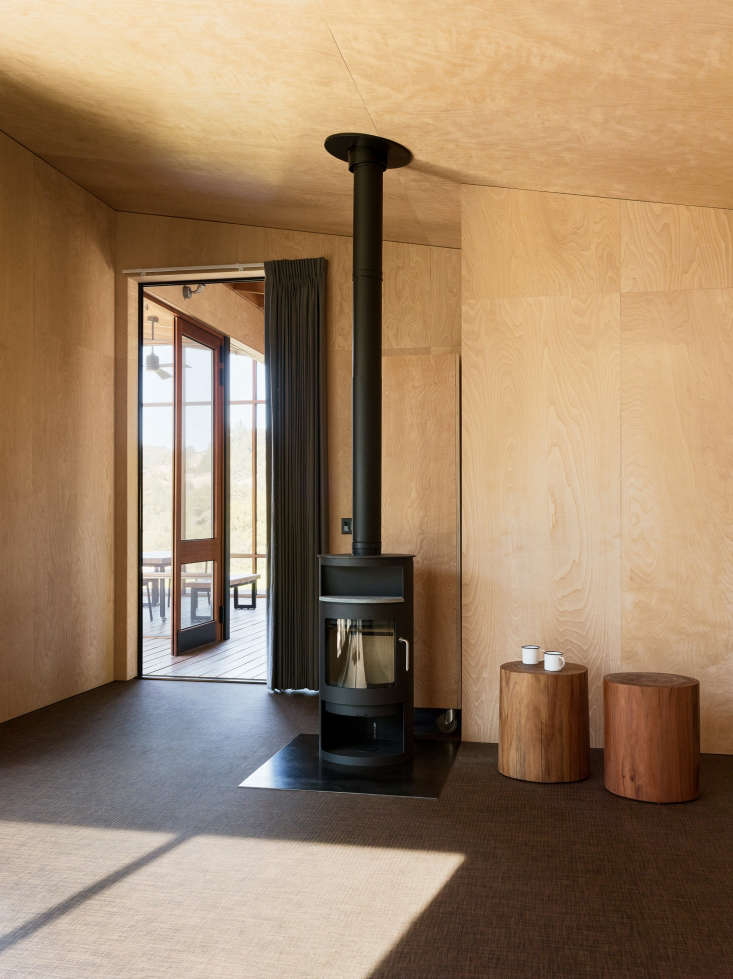 interior plywood room carpet wood stove healdsburg 2