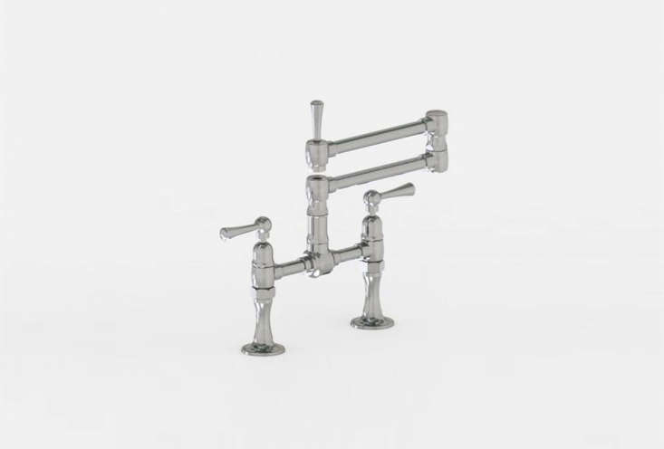 the jaclo deck mounted bridge faucet articulating spout is available in brushed 16