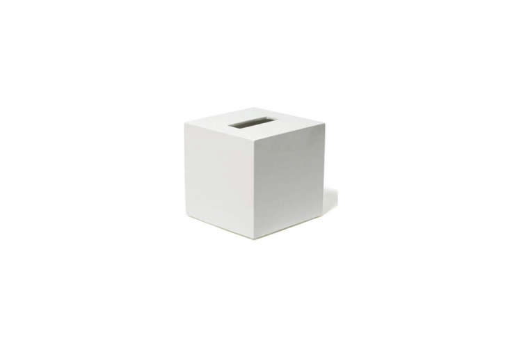 thejonathan adler lacquer tissue box is made of hand poured white lacquer; \$ 17