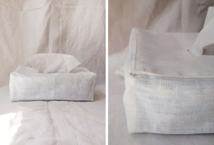 from makié, the linen tissue cover in white is designed to fit a rectangular b 13