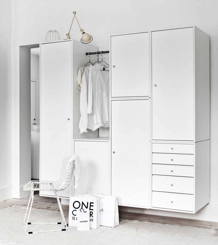 The Montana Wardrobe comprises five modules, each 60 centimeters (.6 inches) deep, that can be put together in multiple ways. The larger units can be fitted with doors, drawers, trays, and shelves.