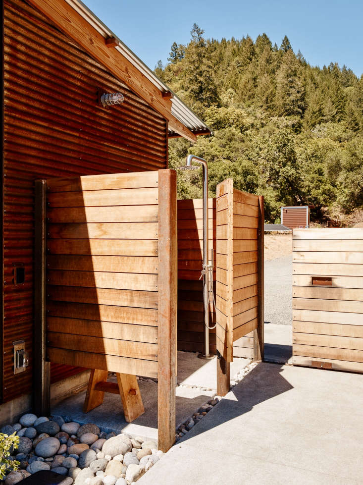 outdoor shower northern california wood siding