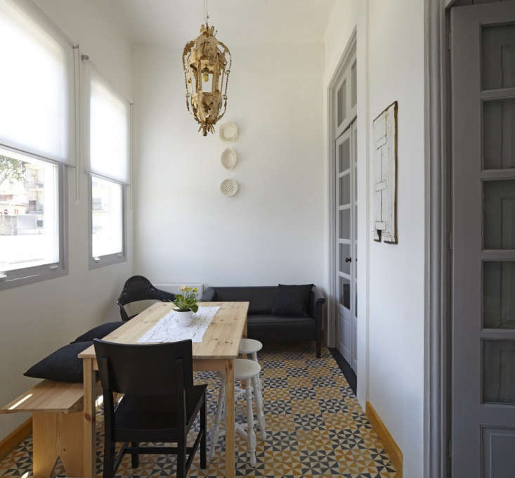 A small dining and lounging area has an array of seating options.