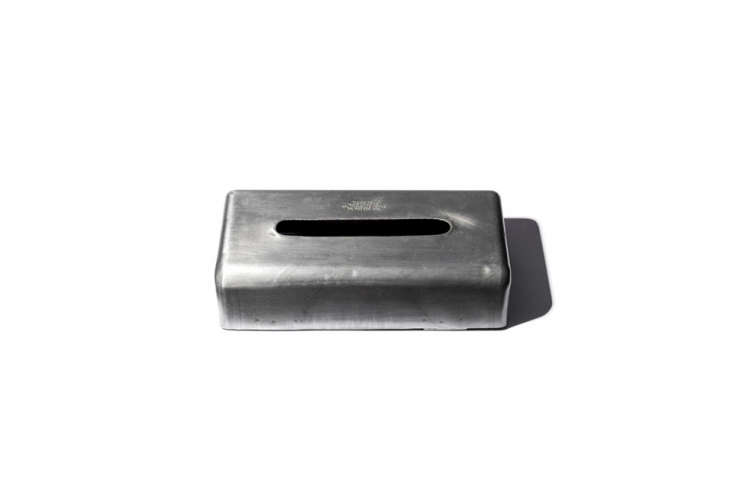 from japanese company puebco, theplain tissue box in made of industrial steel 12