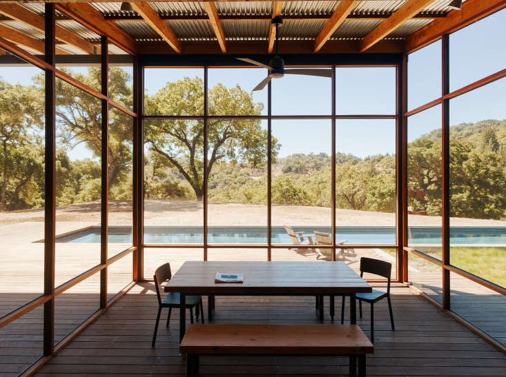 screened pool porch dining table california wine country