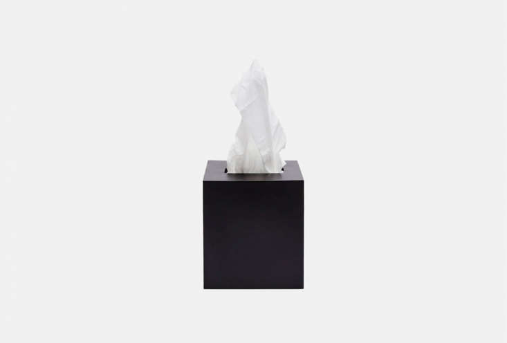 the line&#8\2\17;s tenfold metal tissue box cover is a matte black powder c 14