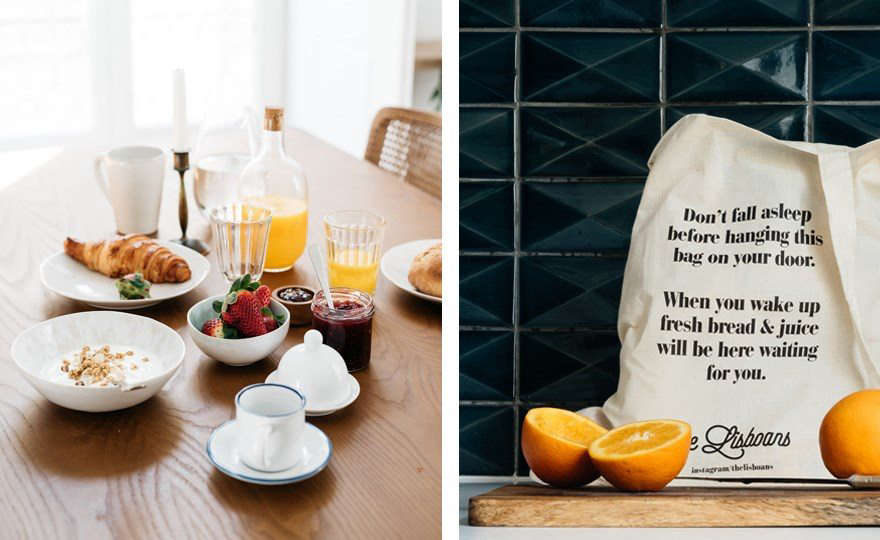 Acharming feature at The Lisboans: Breakfast—fresh bread and juice—is delivered via a canvas market bageach morning.