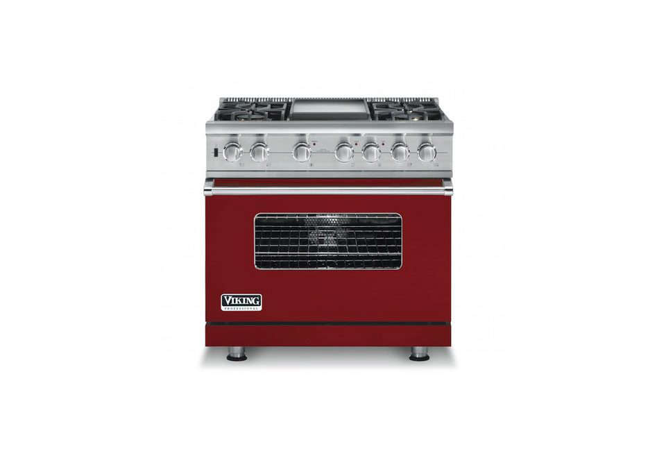 Sick of stainless? Viking wins in this category. It offers ranges in a choice of colors, including black, white, red (shown here), burgundy, gray, and cobalt. Wolf ranges are available only in a brushed stainless finish.