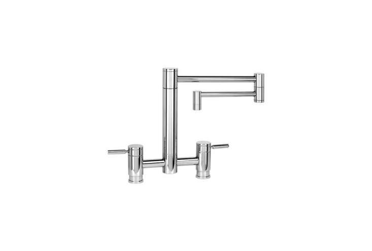 the waterstone hunley suite bridge faucet with articulating spout and lever han 18