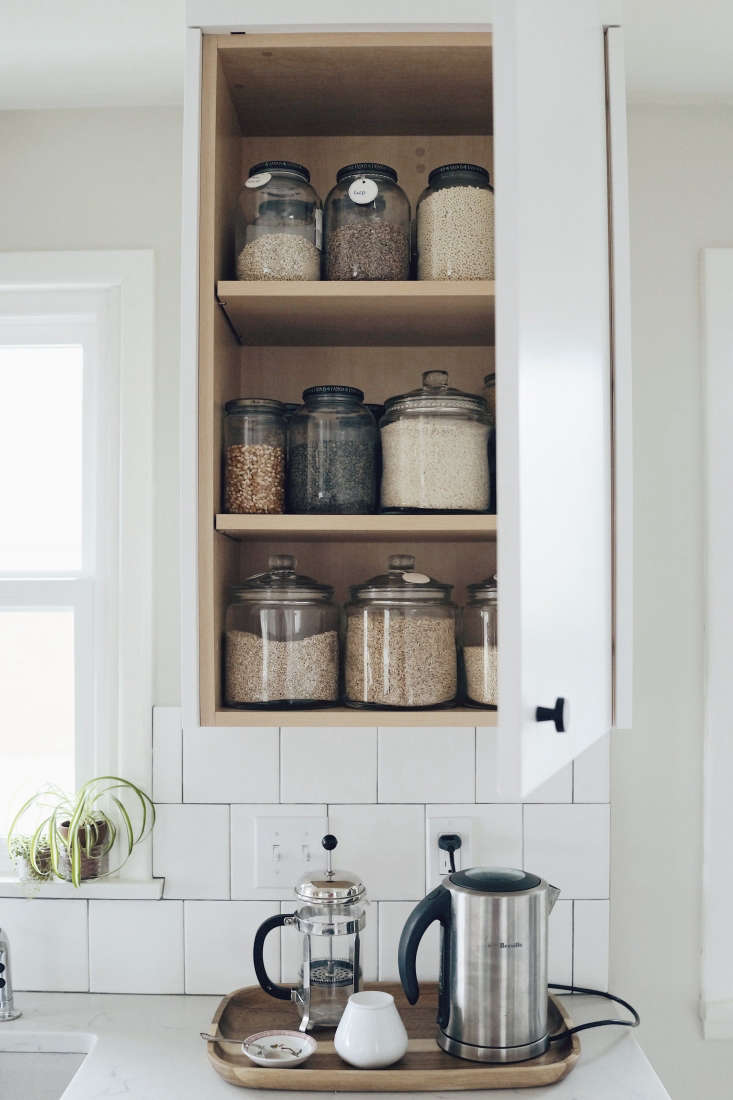 white kitchen seattle coffee station open cabinets