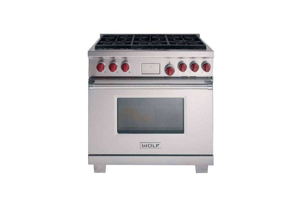 The Wolf Dual Fuel 36-Inch Range (DF366) with six burners is $9,0 (or $,0 with griddle or charbroiler option) through Wolf Dealers.