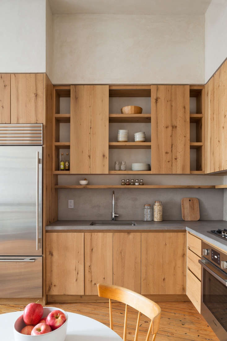 wood kitchen cabinets concrete counters 1