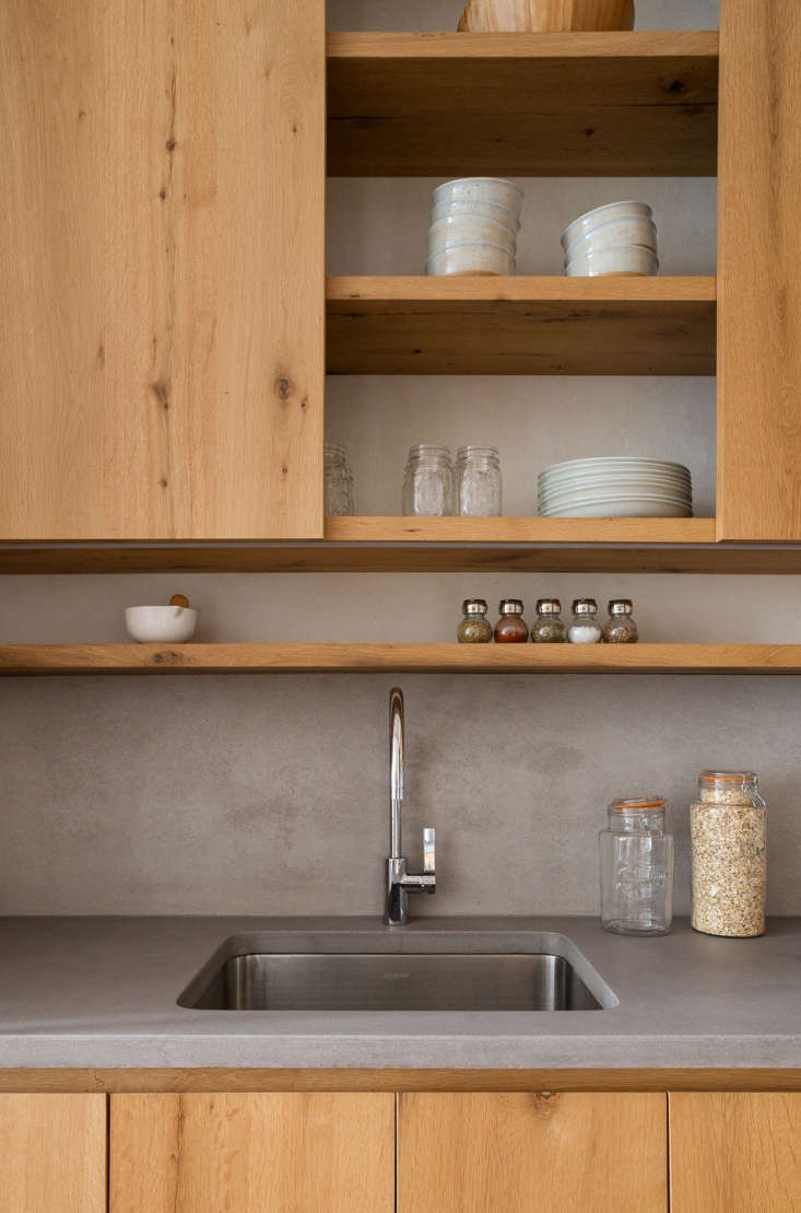 wood kitchen cabinets concrete counters 2
