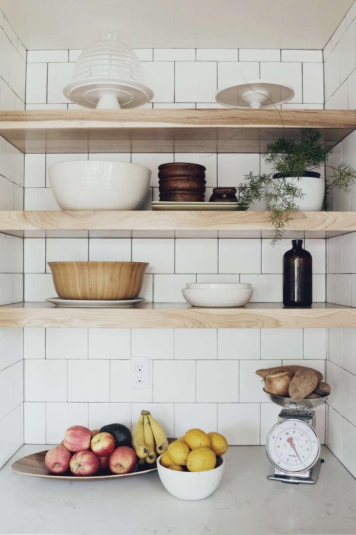wood open shelves fruit bowl scale seattle kitchen