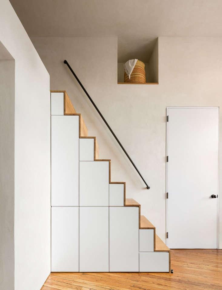 wood open staircase storage loft white wall3