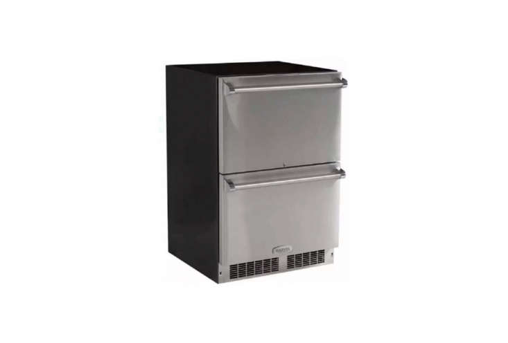 Marvel, the North American subsidiary of UK company Aga, makes-Inch Built-In Refrigerator Drawers with stainless steel interiors; $3,5. For more details, go to Marvel.