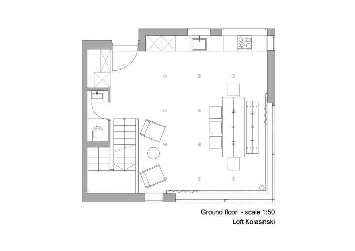 Floor plan: Ground-floor-kitchen-dining room minimalist berlin-house-designed by designyougo and furnished by loft-kolasinki.