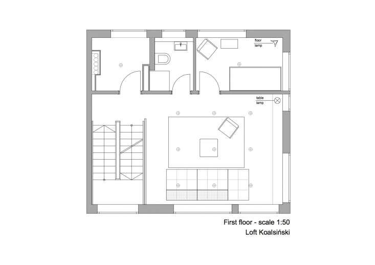 Floor plan: Living room floor in a minimalist berlin-house-designed by designyougo and furnished by loft-kolasinki.