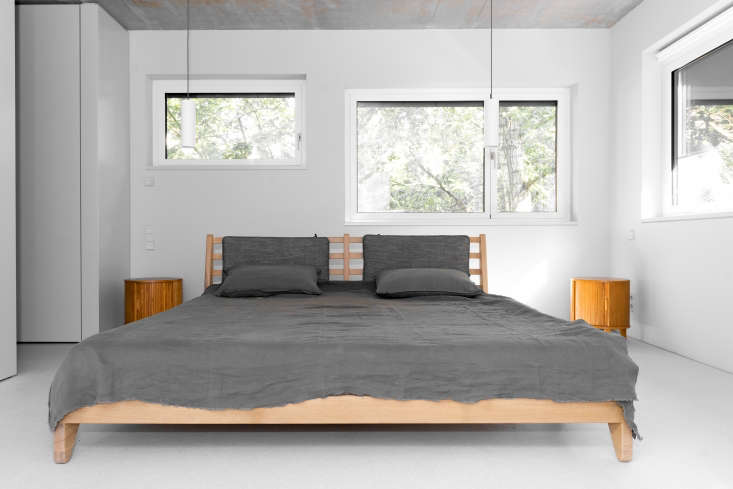The low oak bed frame is the B