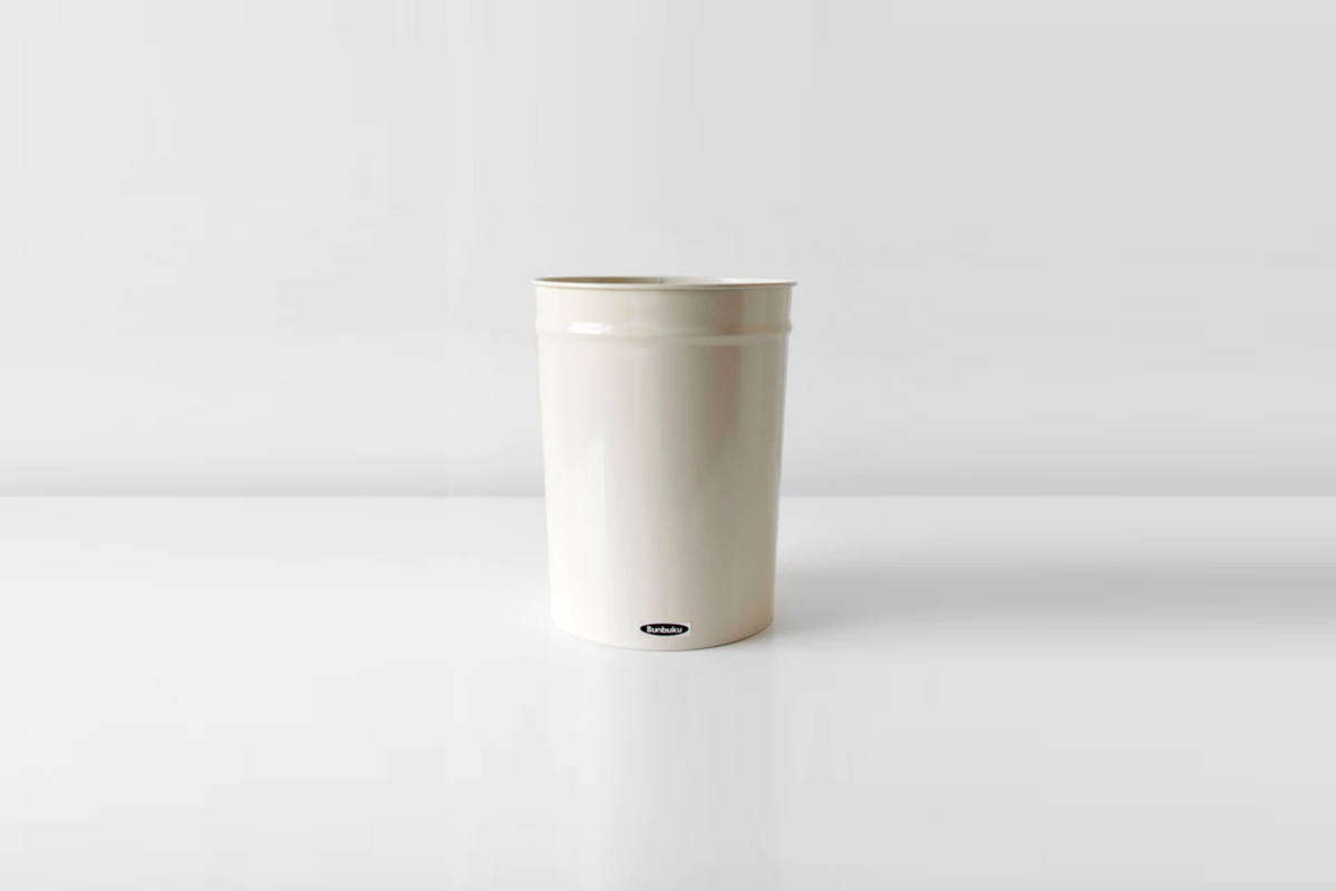 The enameled steel Small Bunbuko Waste Basket in white is $34 from Brooklyn-based Salter House.
