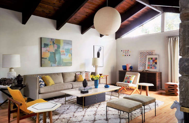 colorful mod living room from considered design awards