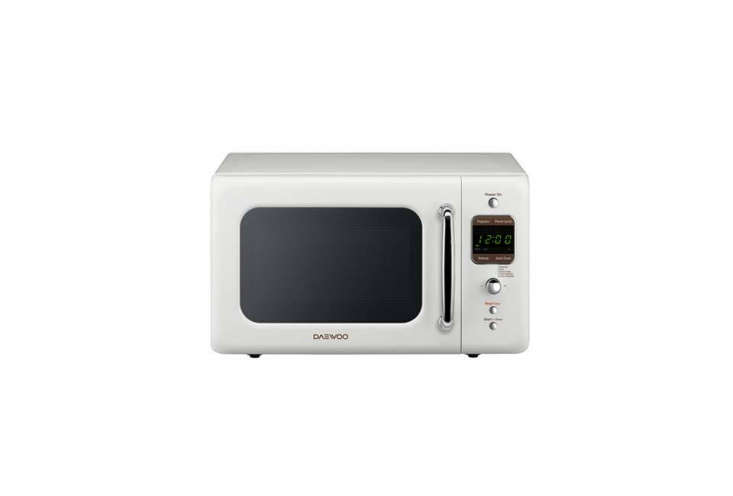 The Daewoo Retro Countertop Microwave is small (a 0.7-cubic-foot capacity) in Cream White; $99.99 at Lowe&#8