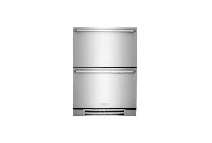 A pair of Electrolux -Inch Refrigerator Drawers, tall enough to hold nine-inch bottles and wide enough for serving trays, is $3,099. Compact refrigerator drawers are also being used in bathrooms to store medications and beauty products.