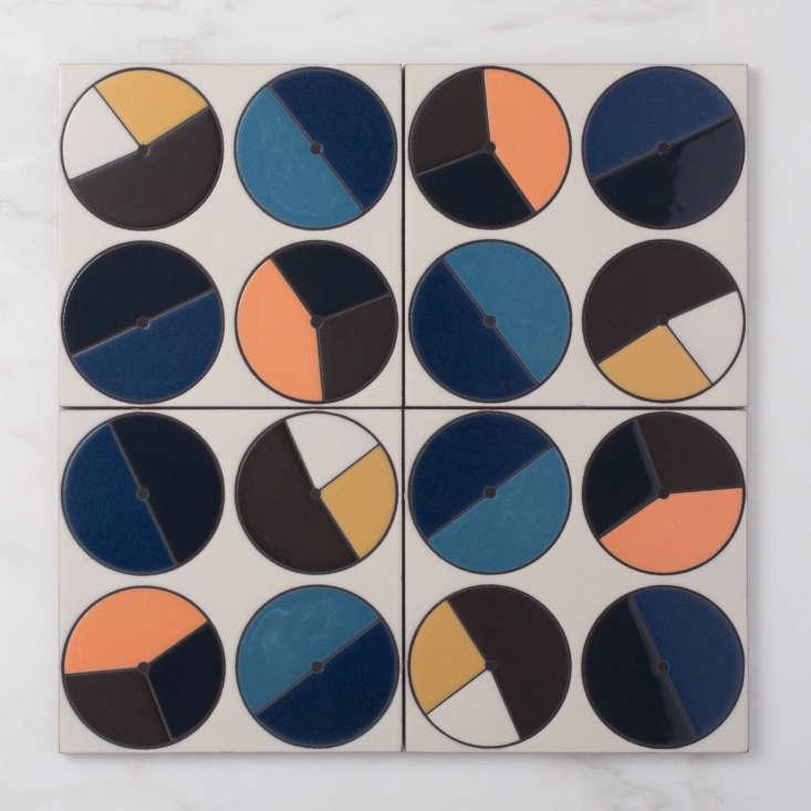 fireclay agrarian ceramic tile colorful orange yellow blue