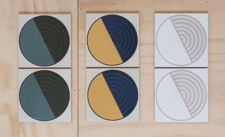 fireclay agrarian ceramic tile green blue yellow circles