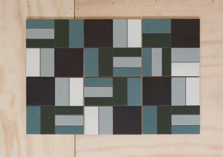 fireclay agrarian ceramic tile rectangles blue green