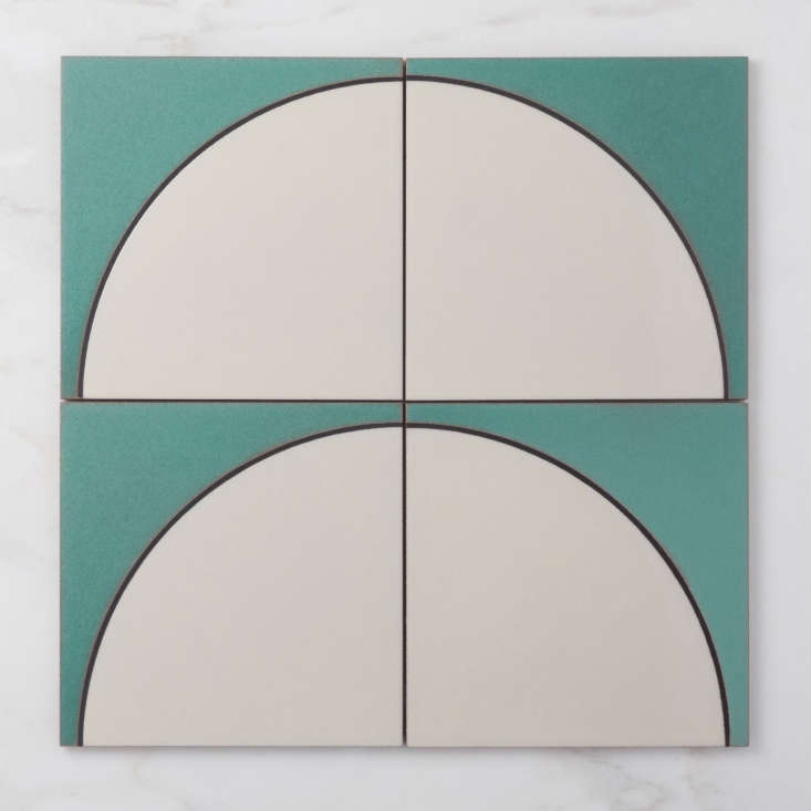 fireclay tile ceramic agrarian collection turquoise white quarter circles