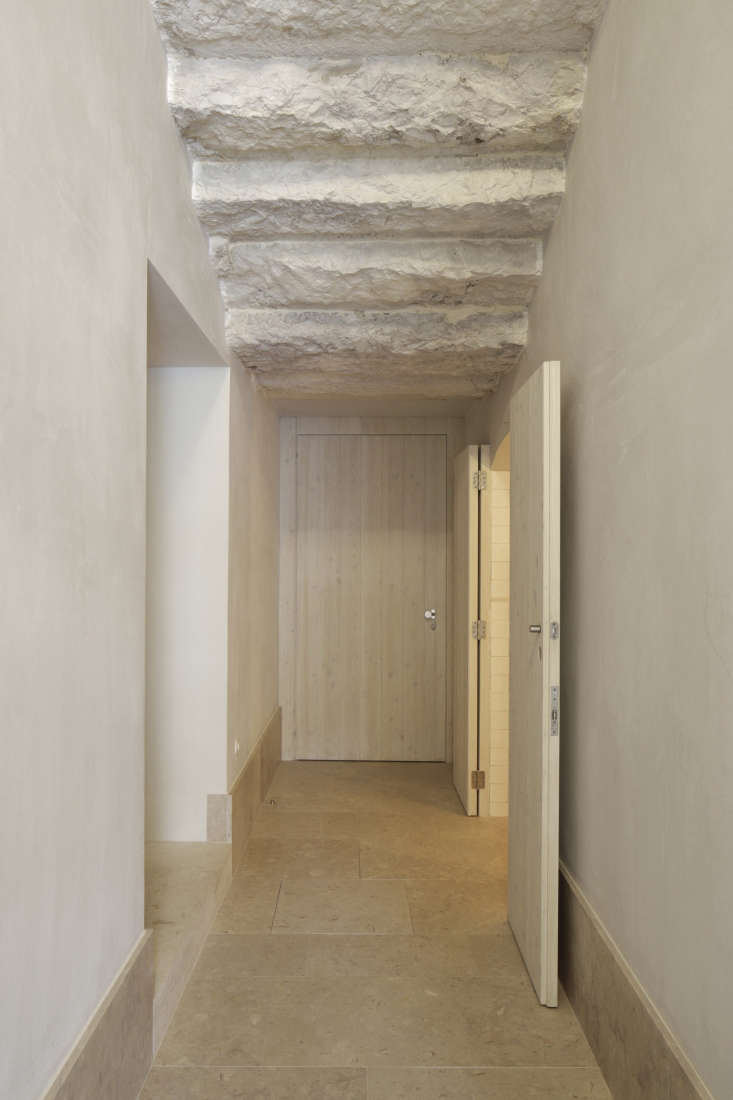 hallway stone floor stairway above hotel santa clara