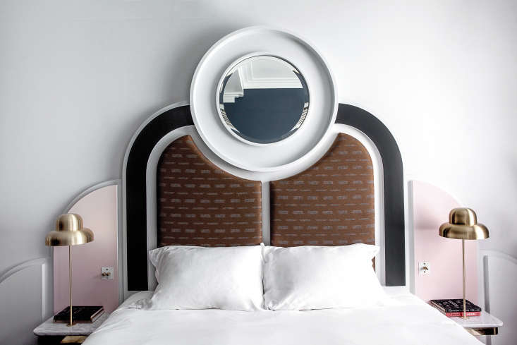 Eachbed frameis hand assembled from individual elements, painted, mirrored, or fabric-covered.