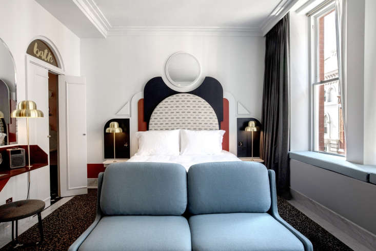 The beds are the big moment in every Meilichzon hotel. At the Henrietta, the outsized, bas-relief headboards reference the surrounding pediments, capitals, colonnades, and porticos.