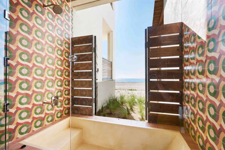 hotel san cristobal mexico painted cement tile bathroom shower