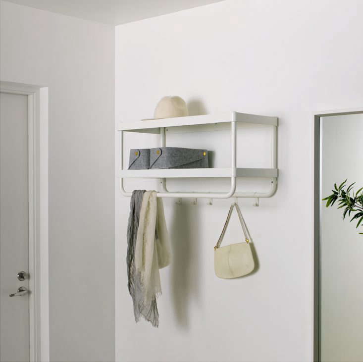 The Mackapär Hat and Coat Rack is an abridged version of the larger coat rack with two shelves, a set of hooks, and a hanging bar; $.99 at Ikea.