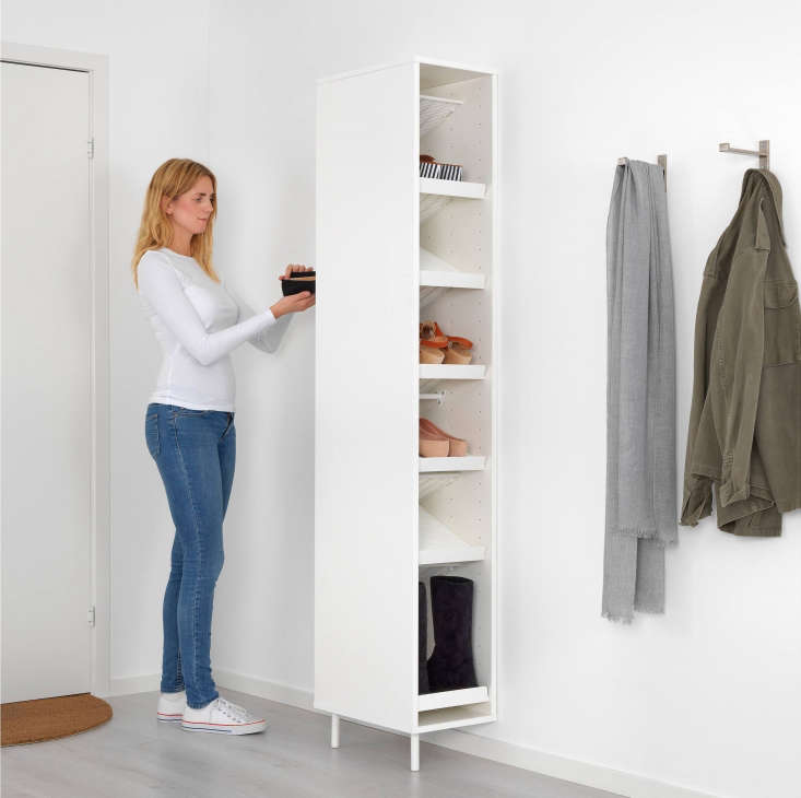 The Mackapär Coat Organizer mounts to the wall and is accessible from both sides. The shelves can be placed flat or angled for shoes and boots; $69.99 at Ikea.