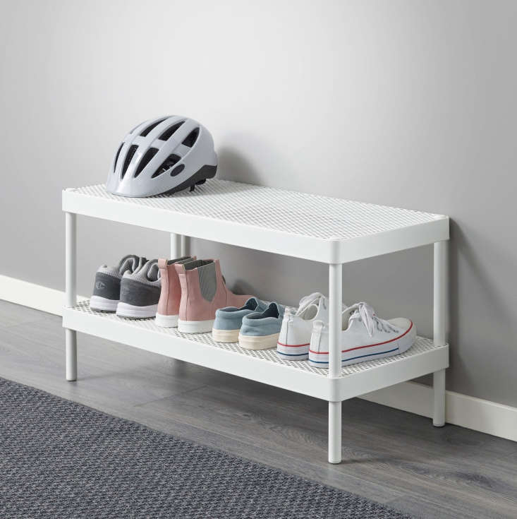 The Mackapär Shoe Rack is made of powder-coated steel with two perforated shelves; $.99 each at Ikea.