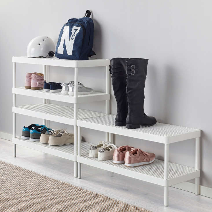 The shoe rack is designed for stacking (Ikea says the racks shouldbe anchored to the wall to avoid tipping).