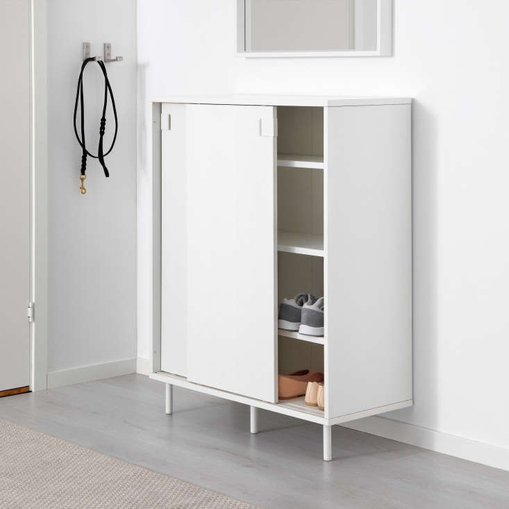 The taller Mackapär Shoe/Storage Cabinet is made of white-painted particleboard and mounts to the wall; $60 at Ikea.